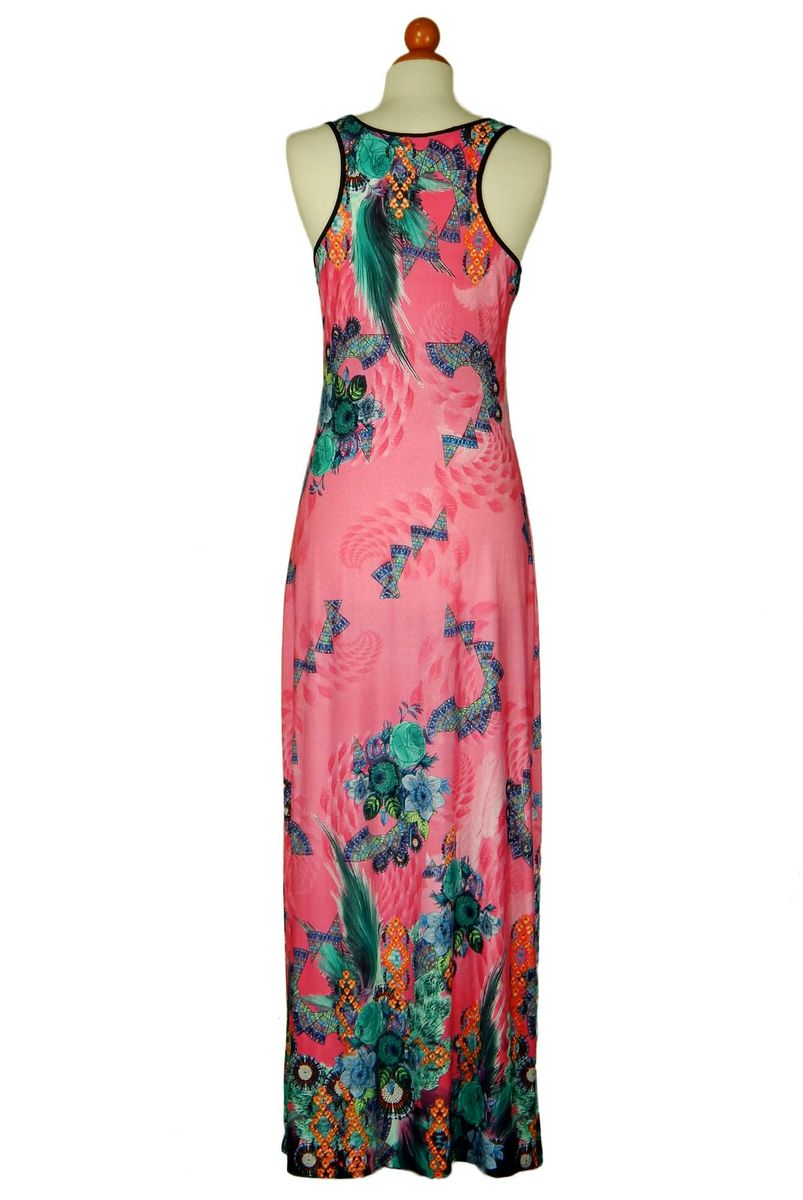 Sleeveless deep neck floral in pink maxi dress - product images  of