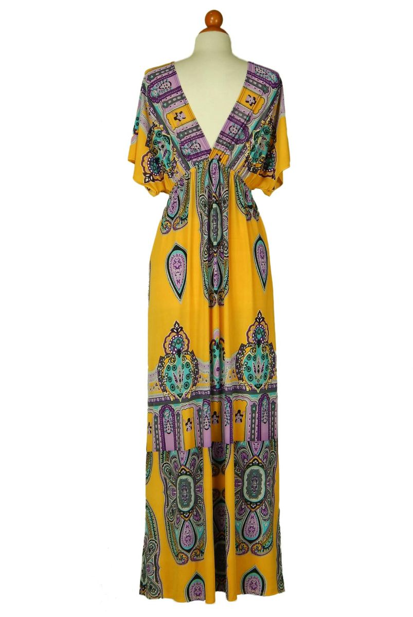 One size kimono in mustard v-neck maxi dress - product images  of