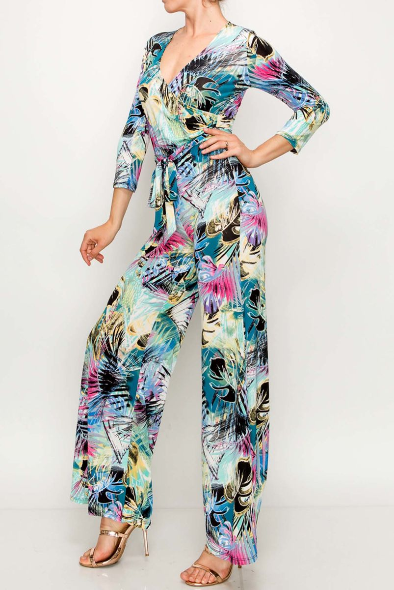 Palm in rainbow wrap style jump suit - product images  of