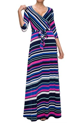 Horizon,in,pink,maxi,wrap,dress,red apparel, Janette fashion, Horizon in pink maxi wrap dress