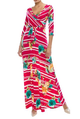 Floral,in,pink,line,maxi,wrap,dress,Floral in pink line maxi wrap dress   , redapparelonline, 6ws, Janette fashion, Janette, Maxi wrap dress, wrap dress, work dress, vacation dress, affordable wrap dress