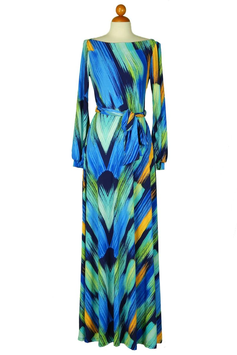 Brush in royal long cuff sleeve boat neck maxi dress - product images  of
