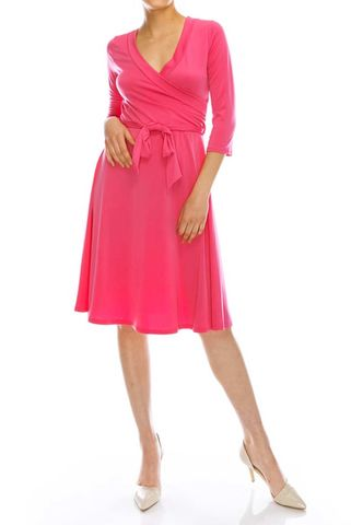 Pink,wrap,dress,pink wrap dress, red apparel, janette fashion, Janette fashion wrap dress, Janette wrap dress, wrap dress, work dress, vacation dress