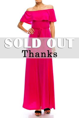 Fuchsia,off,the,shoulder,maxi,dress,red apparel, Janette fashion, Janette,Fuchsia off the shoulder maxi dress