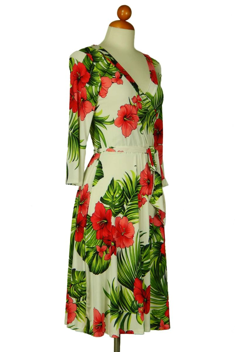 Maui floral in ivory wrap dress - product images  of