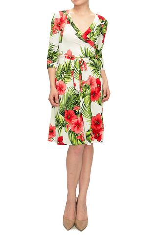Maui,floral,in,ivory,wrap,dress,Maui floral in ivory wrap dress, red apparel, janette fashion, Janette fashion wrap dress, Janette wrap dress, wrap dress, work dress, vacation dress