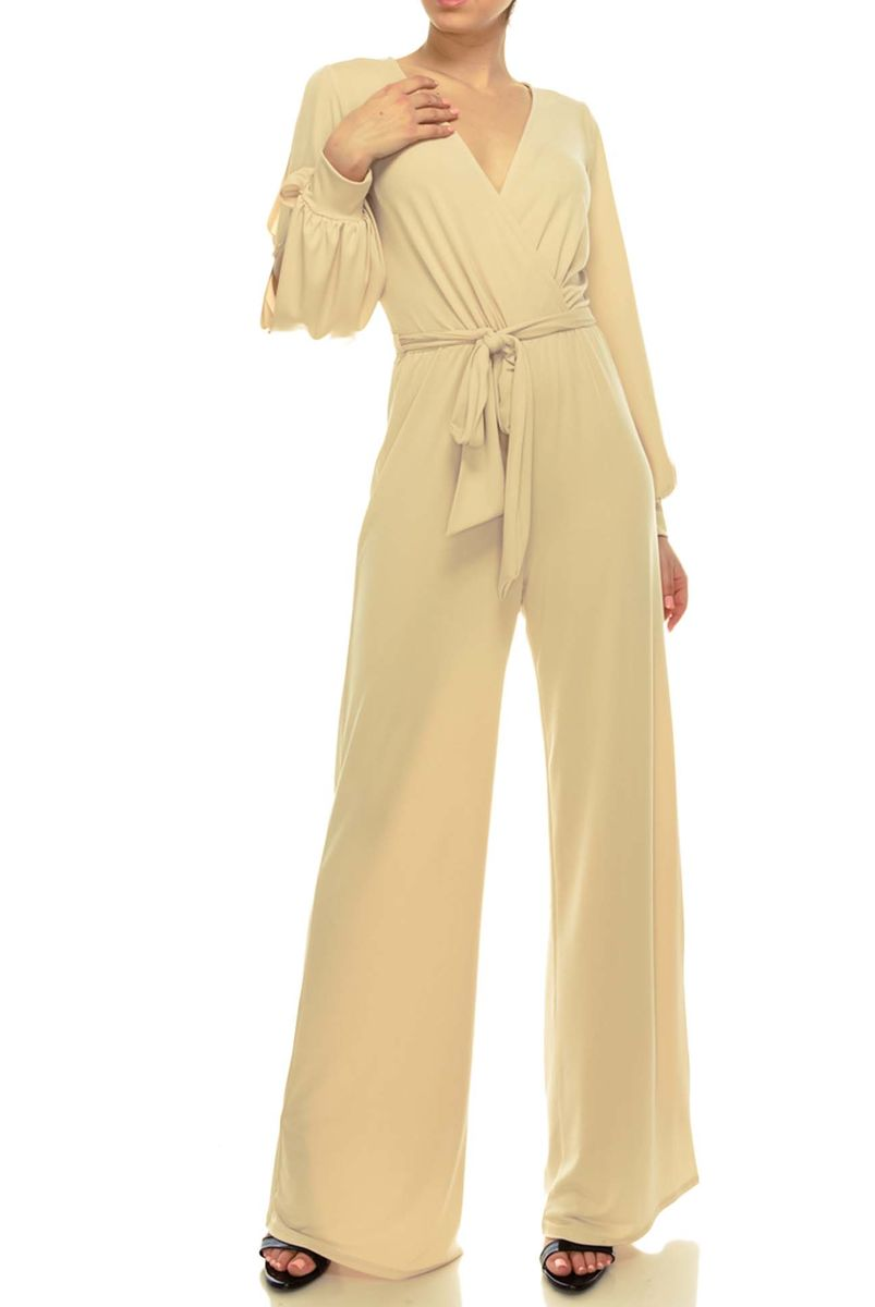 Nude wrap style jump-suit with long split cuff sleeves - product images  of