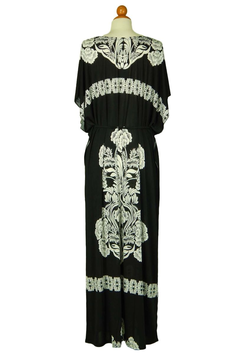 One size kimono style long dress with waist drawstring Black - product images  of