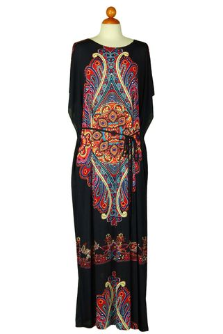 One,size,kimono,style,long,dress,with,waist,drawstring,Navy,Dress