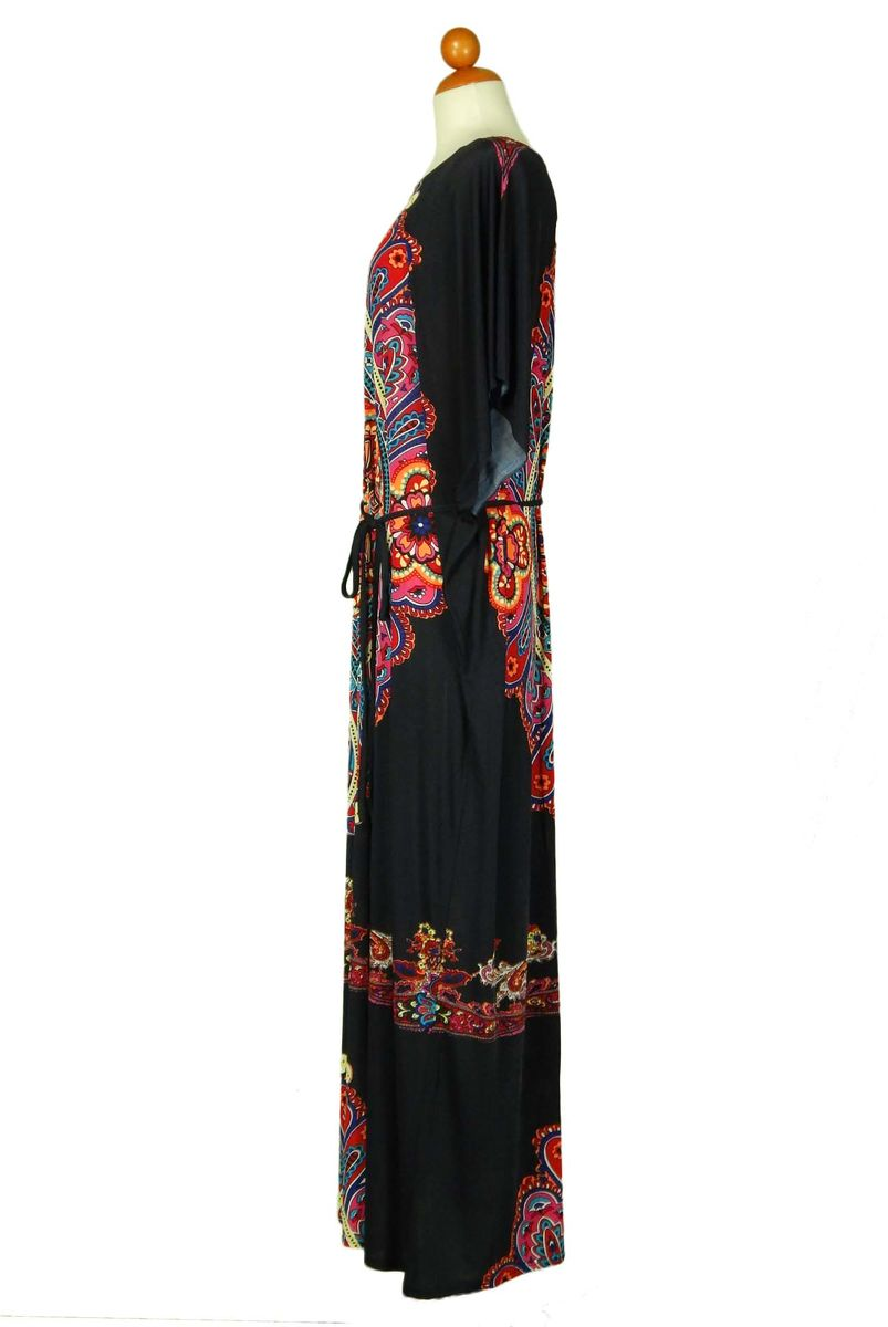 One size kimono style long dress with waist drawstring Navy - product images  of
