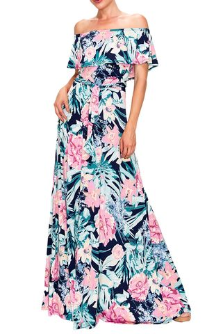 Orchid,in,pink,off,the,shoulder,maxi,dress,red apparel, Orchid in pink off the shoulder maxi dress