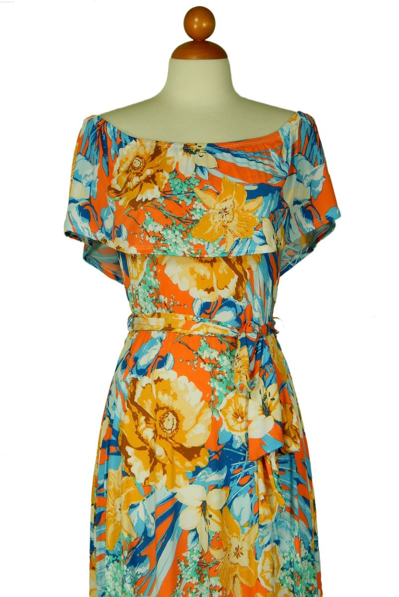 tropical sunset off the shoulder maxi dress - product images  of