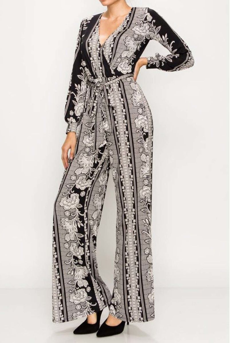 Metro in black long cuff sleeve wrap style jump suit - product images  of