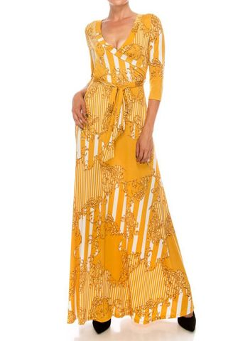 Versace,print,in,mustard,pinstripes,maxi,wrap,dress,red apparel, Janette fashion, Janette, Versace print in mustard pinstripes maxi wrap dress
