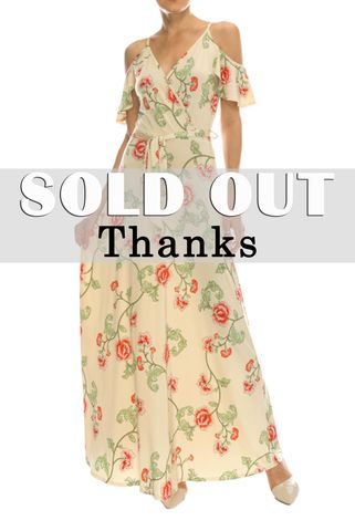 Mini,rose,in,cream,ruffled,cold,shoulder,maxi,dress,red apparel, Janette fashion, Navy floral in pink ruffled cold shoulder maxi dress