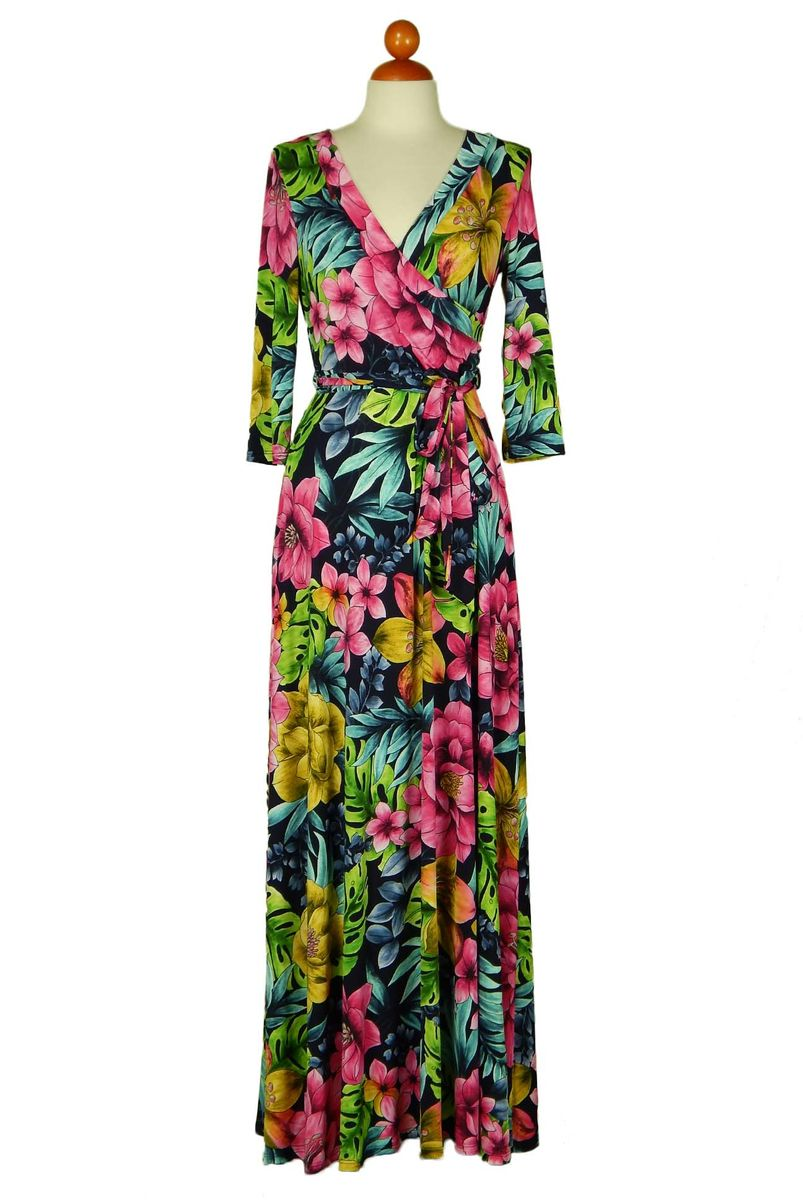 Jamaica floral in blue maxi wrap dress  - product images  of
