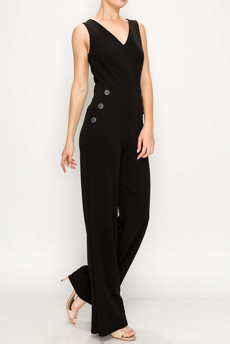 Heavy techno moss crepe sleeveless jumpsuit - product images  of