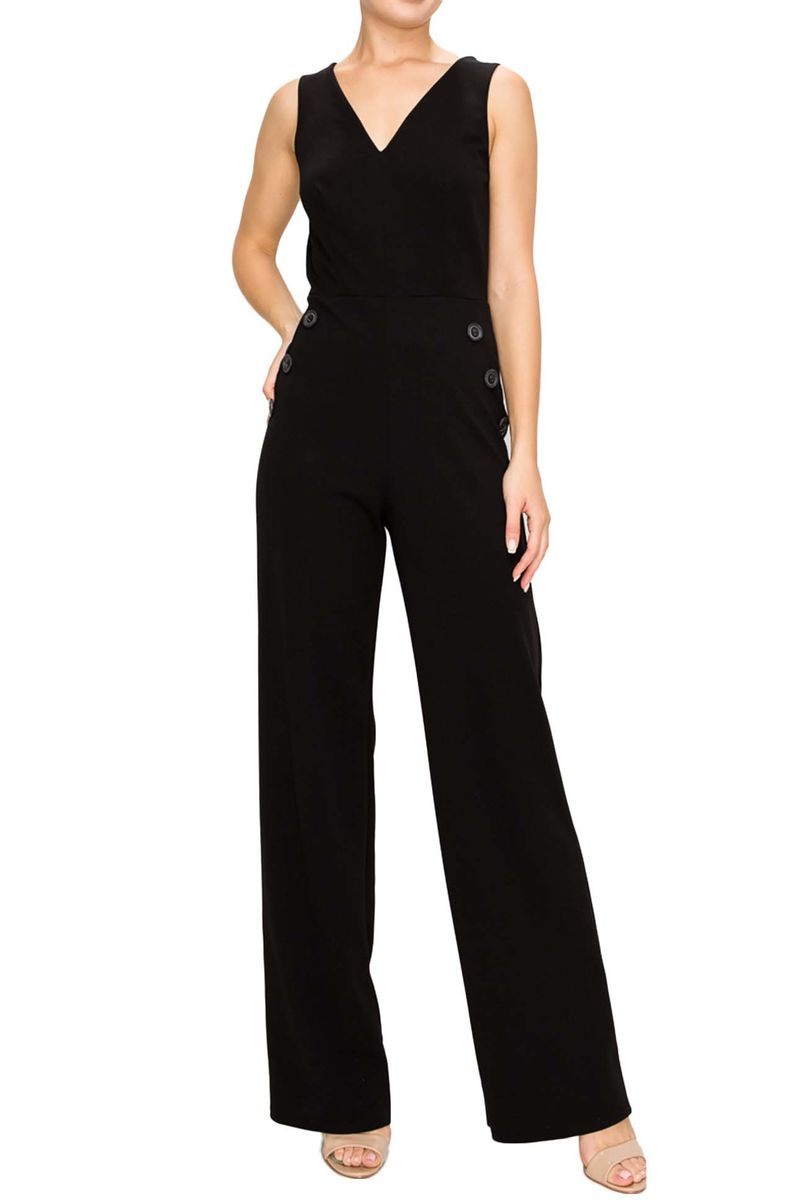 Heavy techno moss crepe sleeveless jumpsuit - Red Apparel online
