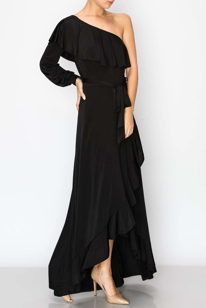 One shoulder ruffle maxi dress - product images  of