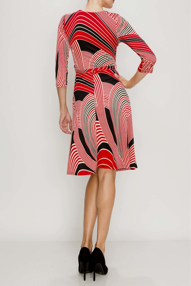 Ring curves in red wrap dress - product images  of