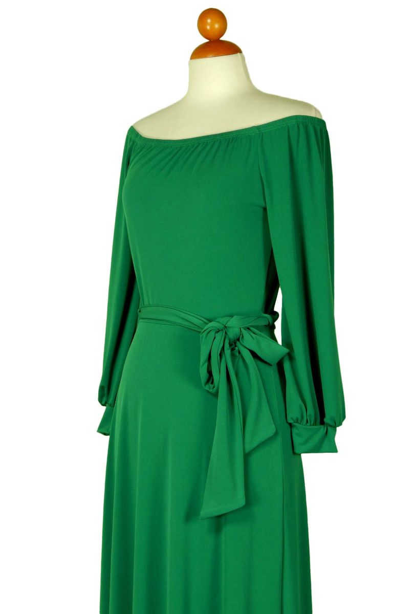 Green off the shoulder with long cuff sleeve maxi dress - product images  of