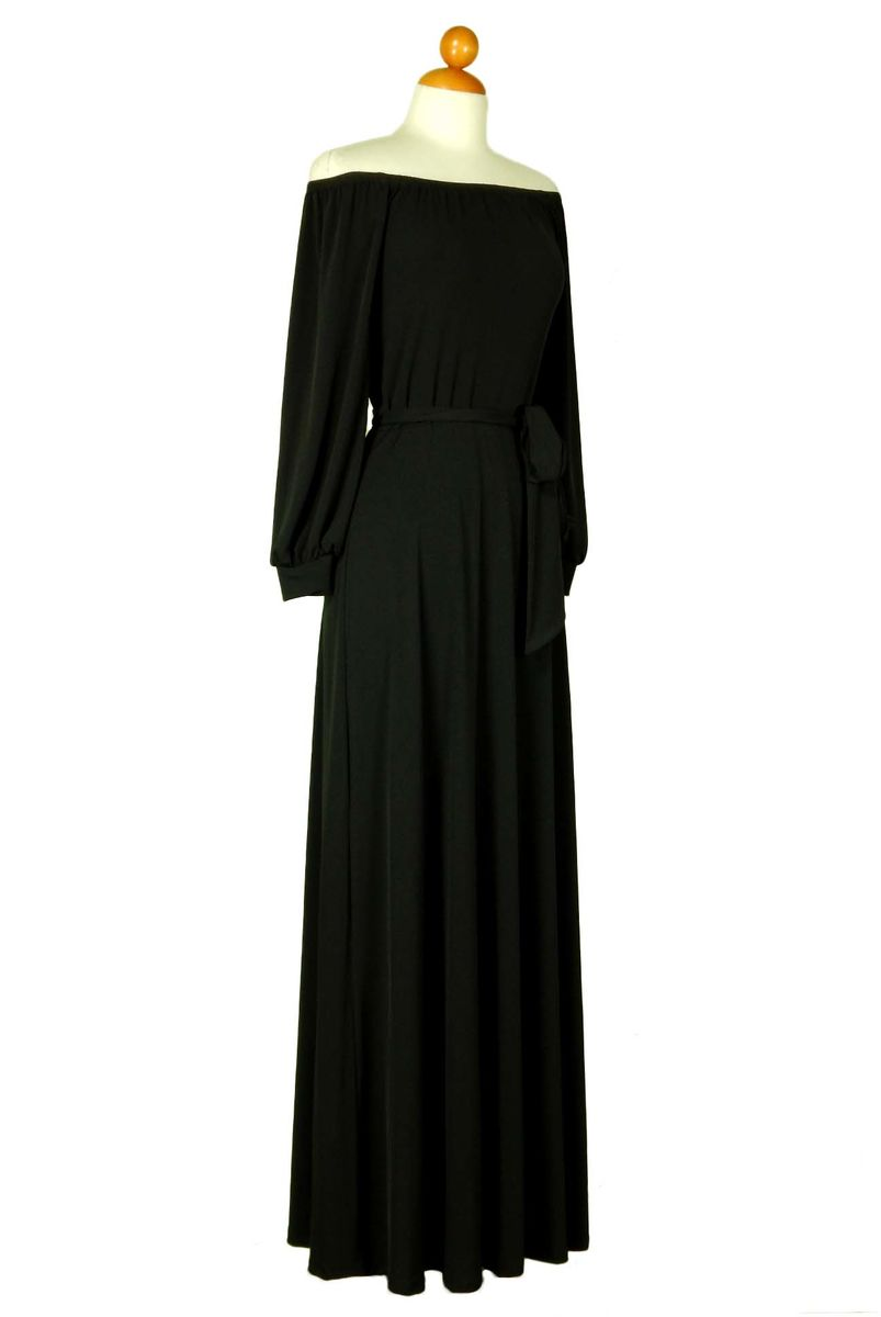 Black off the shoulder with long cuff sleeve maxi dress - product images  of