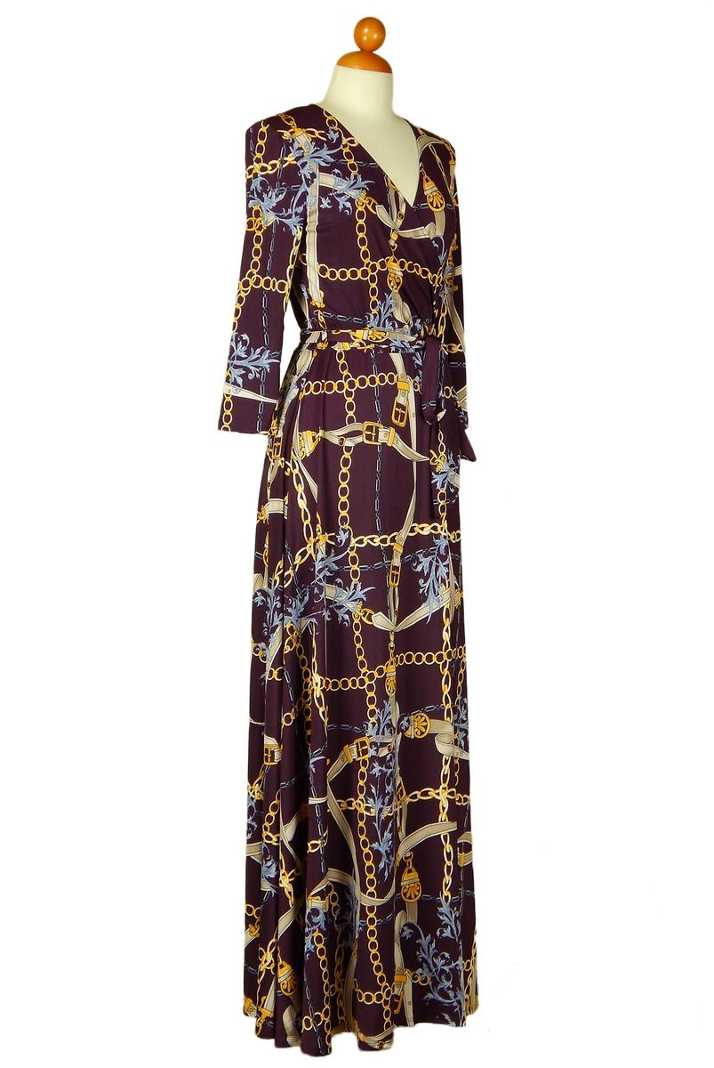Chains in plum maxi wrap dress - product images  of