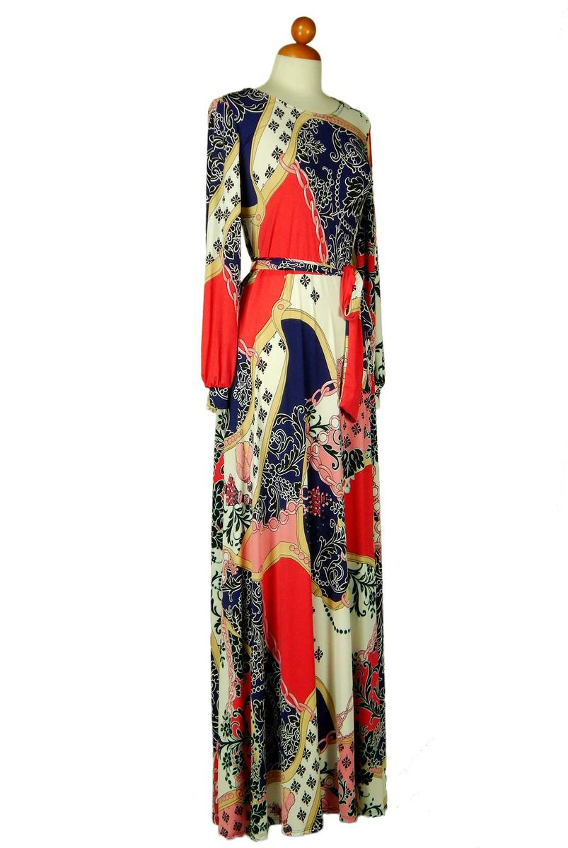 Tassels in multi colors long cuff sleeve round neck maxi dress - product images  of