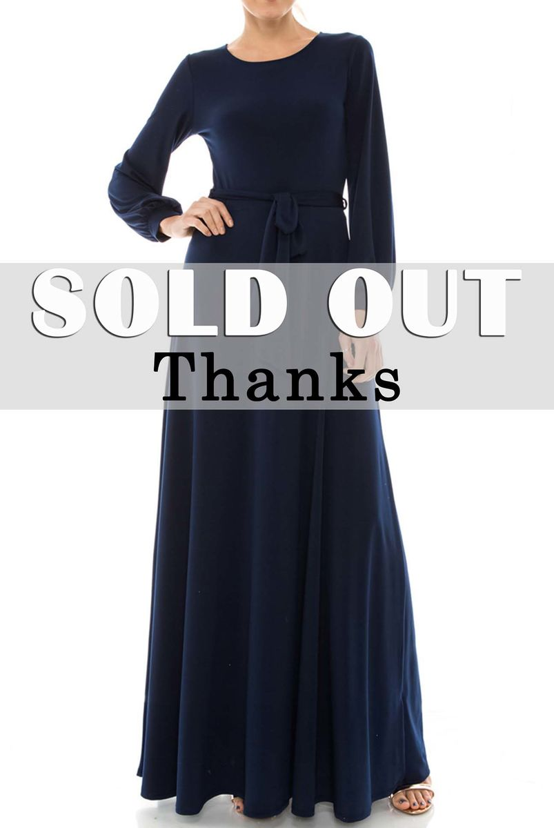 Navy round neck long cuff sleeve maxi dress - product images  of