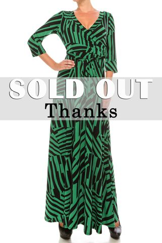 Blocks,in,green,maxi,wrap,dress,red apparel, Janette fashion, Blocks in green maxi wrap dress