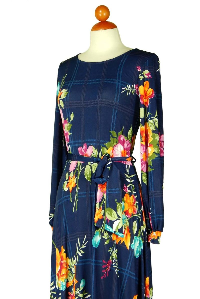 Full of blue bouquet long cuff sleeve round neck maxi dress - product images  of