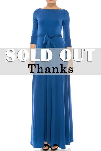Solid,royal,blue,3/4,sleeve,boat,neck,maxi,dress,red apparel, Janette fashion, Janette, Solid royal blue 3/4 sleeve boat neck maxi dress