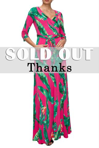 Big,palm,in,hot,pink,maxi,wrap,dress,red apparel, Janette fashion, Big palm in hot pink maxi wrap dress