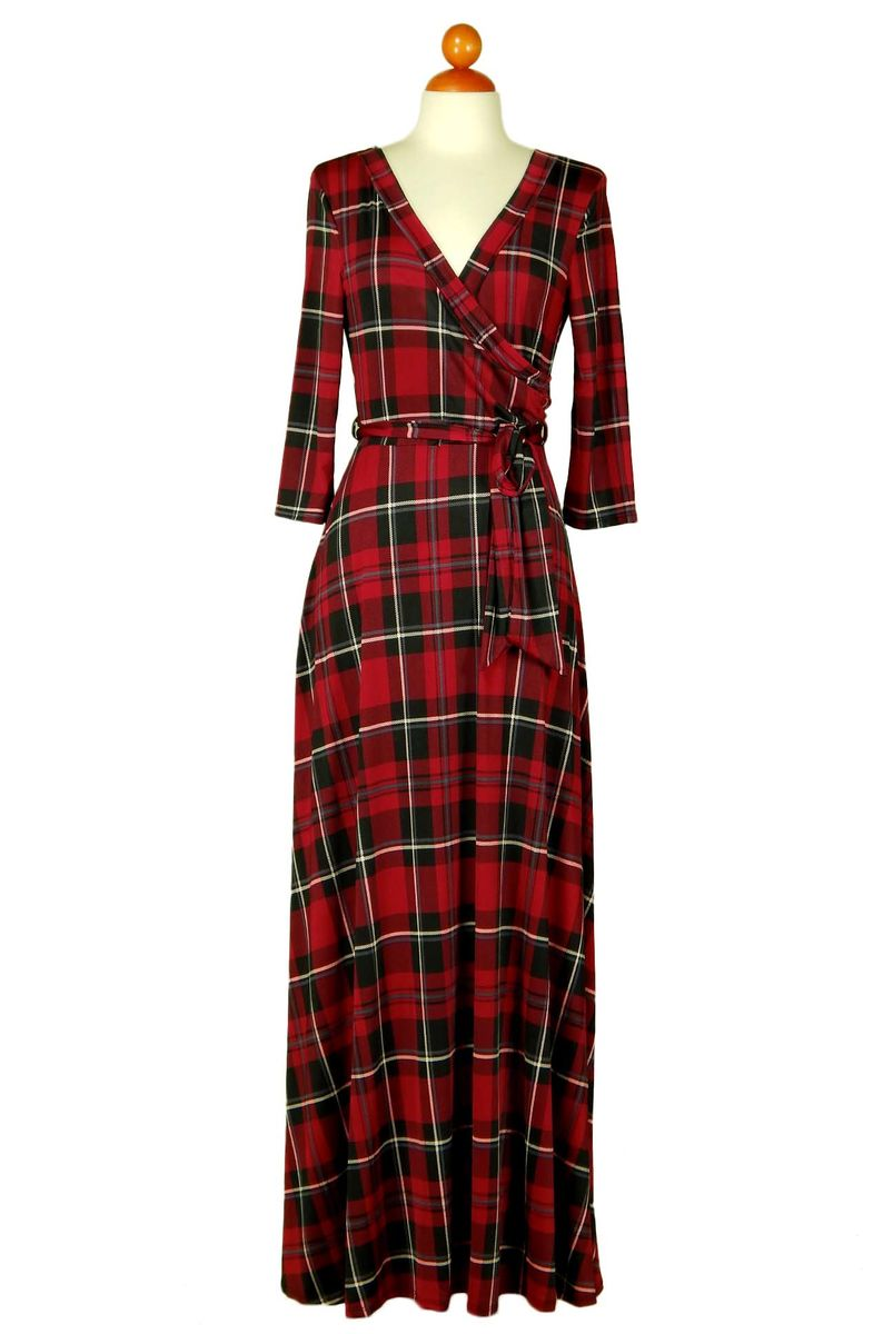 Holiday checker maxi wrap dress - product images  of