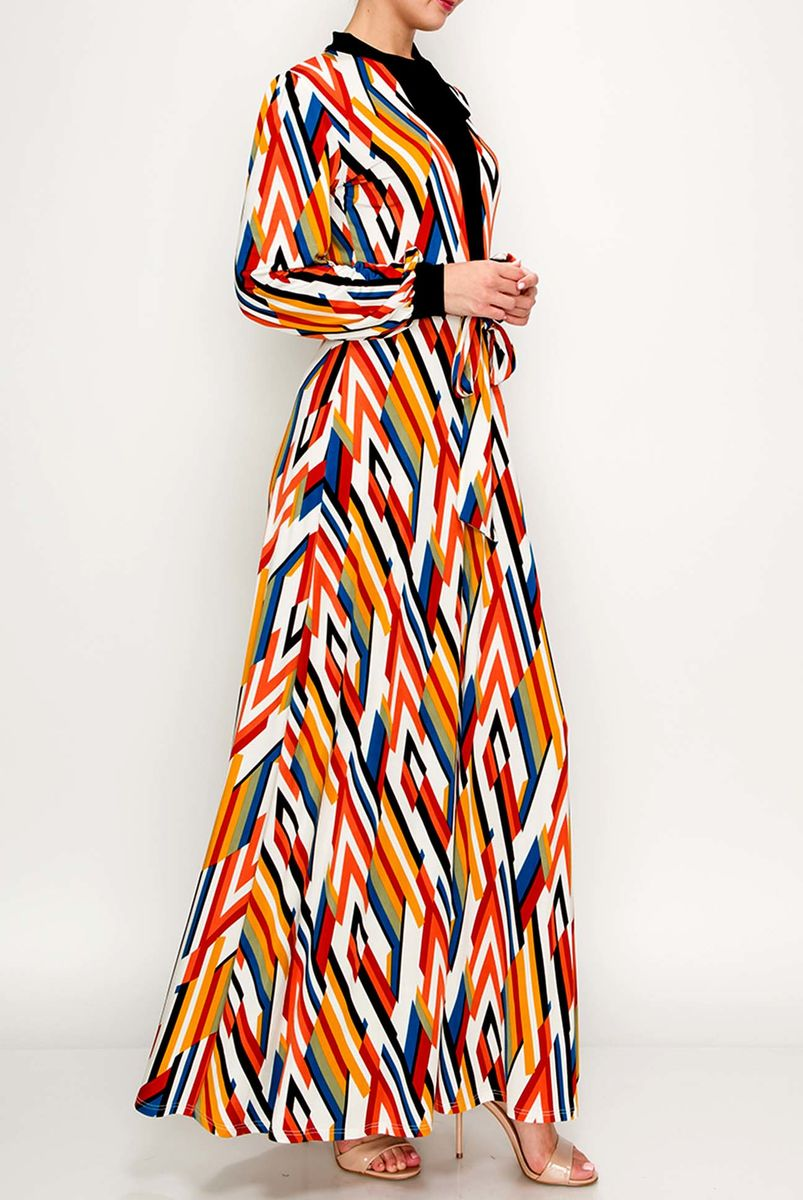 Long cuff sleeve with mock neck tie maxi dress - product images  of