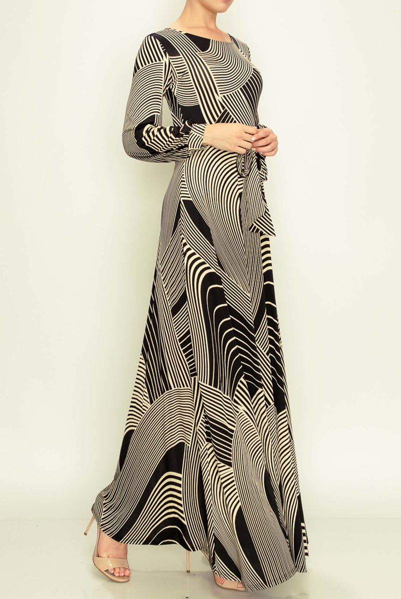 Swirls in black-ivory long cuff sleeve round neck maxi dress - product images  of