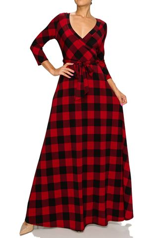 New,holiday,checker,maxi,wrap,dress,red apparel, Janette fashion, Janette,New Holiday checker maxi wrap dress