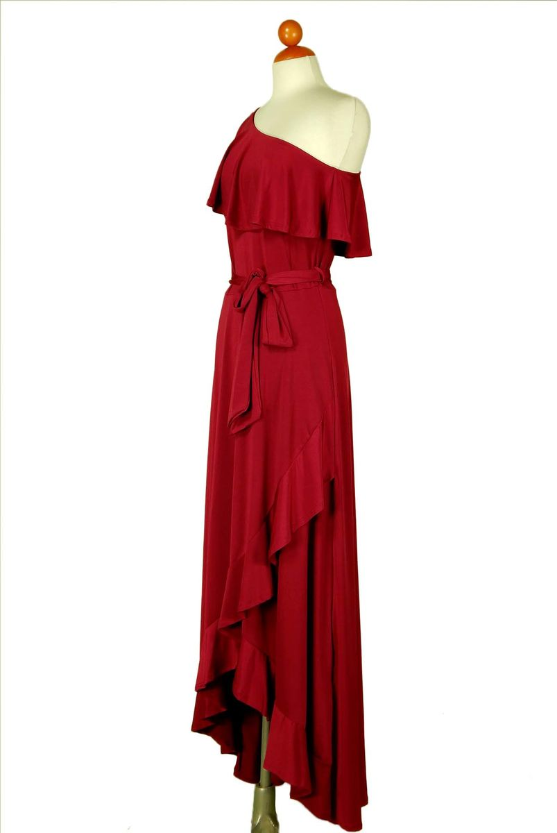 Burgundy one shoulder ruffle maxi dress - product images  of