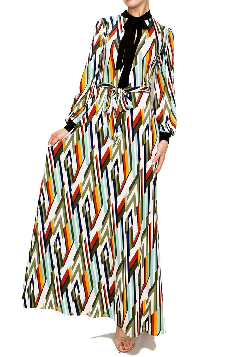 New color - Long cuff sleeve with mock neck tie maxi dress - product images  of