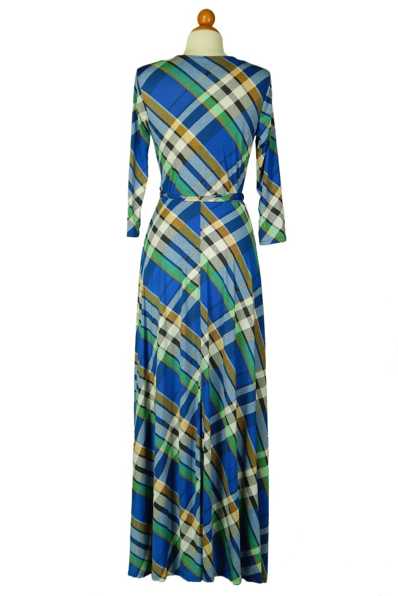 Checker in blue maxi wrap dress - product images  of