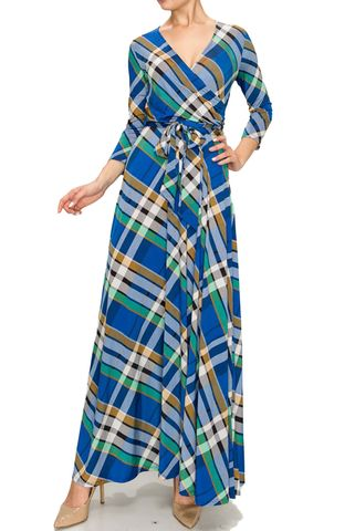 Checker,in,blue,maxi,wrap,dress,red apparel, Janette fashion, Janette,Checker in blue maxi wrap dress