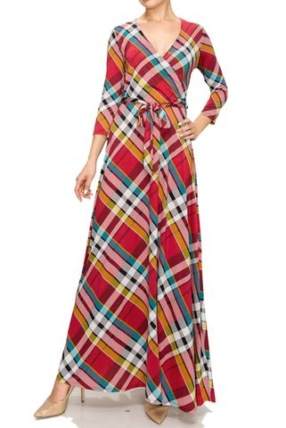 Checker,in,red,maxi,wrap,dress,red apparel, Janette fashion, Janette,Checker in red maxi wrap dress