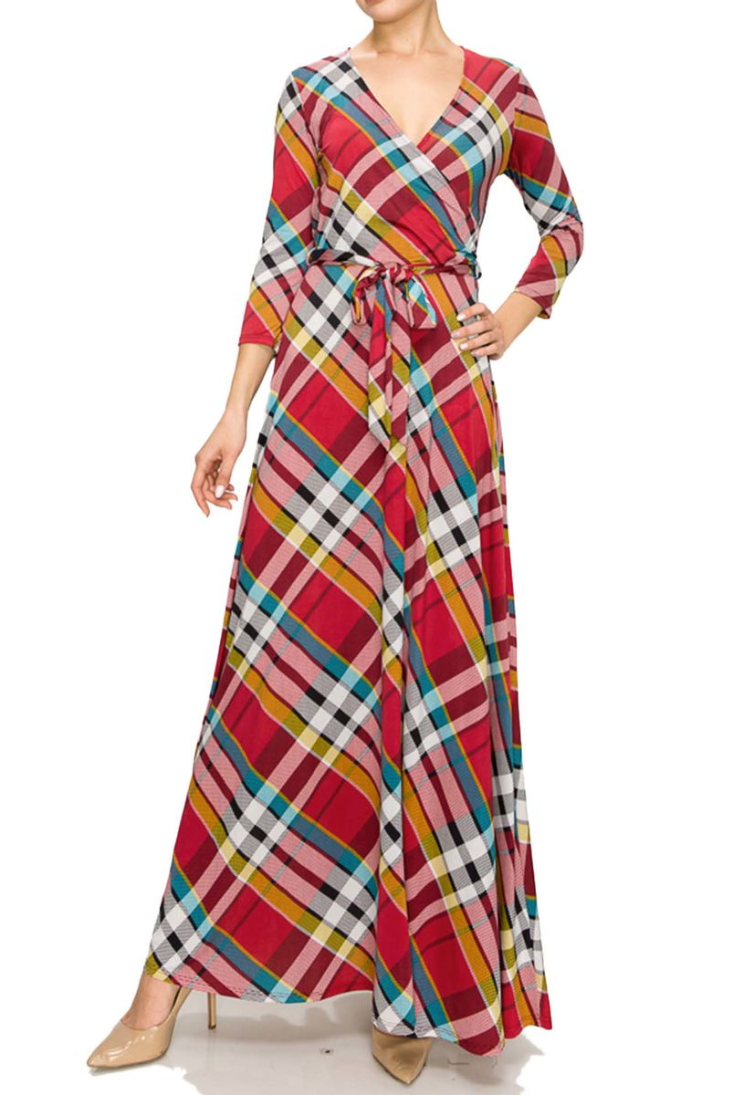 Checker in red maxi wrap dress - product images  of