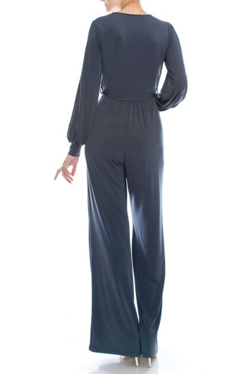 Charcoal jump-suit with long closed cuff sleeves - product images  of
