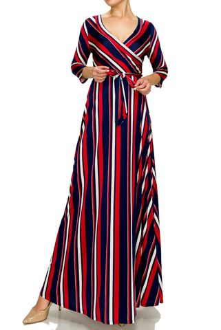 Navy,Red,stripe,maxi,wrap,dress,Navy Red stripe maxi wrap dress  , red apparel, redapparelonline, 6ws, Janette fashion, Janette, Maxi wrap dress, wrap dress. work dress, vacation dress, affordable dress