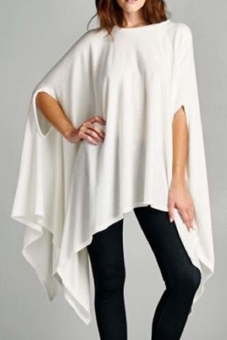 Draped,Poncho,Top, Long sleeve