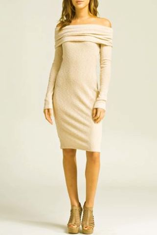 Fitted,off,shoulder,long,sleeve,body,con,dress(Beige),Dress