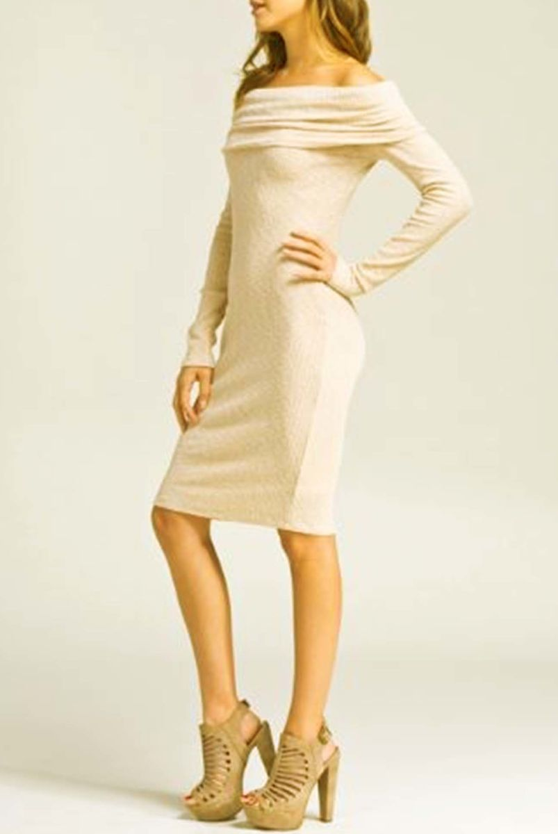 Fitted off shoulder long sleeve body con dress(Beige) - product images  of