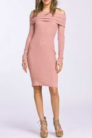 Fitted,off,shoulder,long,sleeve,body,con,dress,Dress