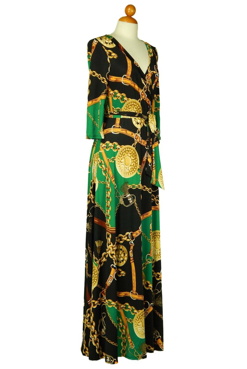 Chain and coin in green maxi wrap dress - product images  of